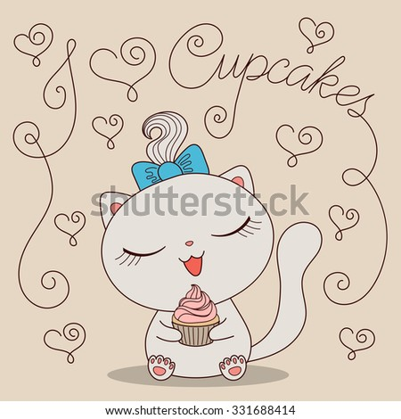 Cute Cartoon Cat Cupcake Text Love Stock Vektorgrafik Lizenzfrei