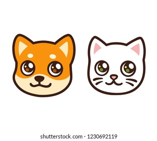 Cute cartoon cat and dog face, anime style puppy and kitten. Isolated vector pets avatar illustration.