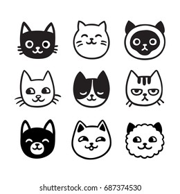 Cute cartoon cat doodle set, funny vector icons. Hand drawn sketch style cat characters faces.