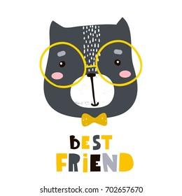 Cute cartoon cat face print. Childish print for nursery, kids apparel,poster, postcard. Vector Illustration