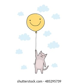 cute cartoon cat flying in the sky on yellow balloon with smile face