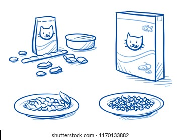 Cute cartoon cat food set. With feeding dish, food tin and box, icons. Hand drawn doodle vector illustration.