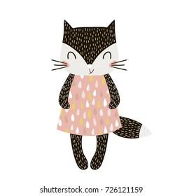 Cute cartoon cat girl in scandinavian style. Childish print for nursery, kids apparel,poster, postcard. Vector Illustration