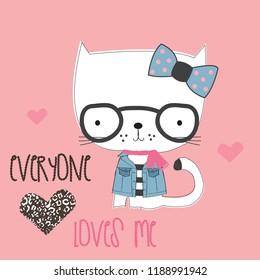 cute cartoon cat with glasses vector illustration, T-shirt grapics design