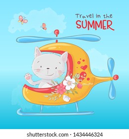 Cute cartoon cat in a helicopter, postcard print poster for a child s room.