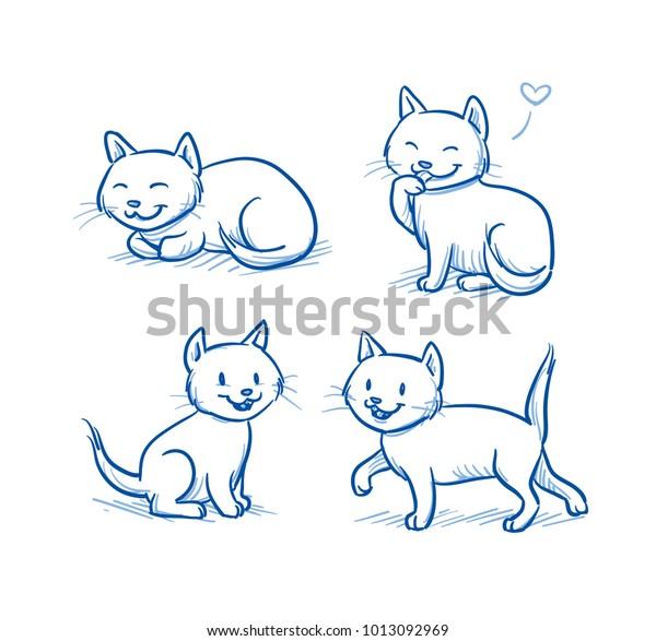 Cute Cartoon Cat Kittens Sitting Walking Stock Vector Royalty Free 1013092969