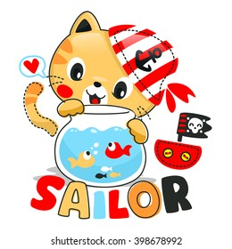 Cute cartoon cat looking fish with red pirate hat on white background illustration vector.