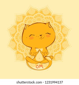 Cute cartoon cat practicing yoga. Vector illustration. Children's yog.design for t-shirts and cards