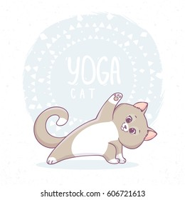Cute cartoon cat practicing yoga. Vector illustration. Children's yoga