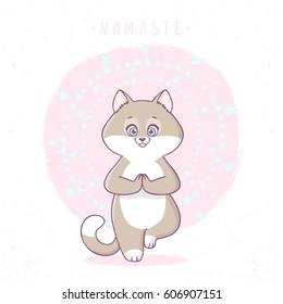 Cute cartoon cat practicing yoga. Vector illustration. Children's yoga