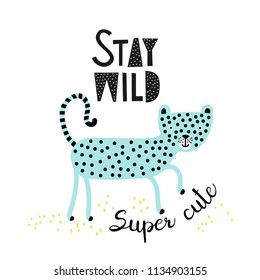 Cute cartoon cat print. Childish print for nursery, kids apparel, postcard, poster. Vector Illustration.