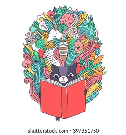 Cute cartoon cat reading a book. Creative illustration with funny animal. Children's book day 2 april.