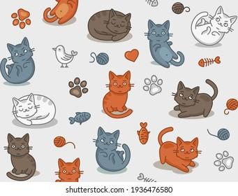 Cute Cartoon Cat Seamless Pattern on Light Background. Vector