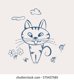 Cute cartoon cat sitting in clearing.Vector illustration