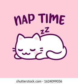 Cute cartoon cat sleeping with text Nap Time. Adorable kawaii kitty hand drawn doodle. Isolated vector clip art illustration.