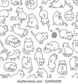 Cute Cartoon Cat Vector Icons, Seamless Pattern And Background