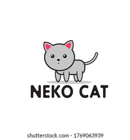 cute cartoon cat vector with white background. Gray cat logo for the mascot