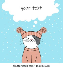 Cute cartoon cat wearing a knitted hat and sweater. Greeting card with place for text. Hand drawn illustration