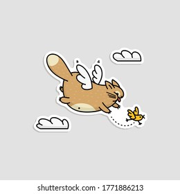 Cute cartoon cat with wings flying in sky chasing after a little bird - isolated sticker with funny animal hunting among clouds. Flat vector illustration