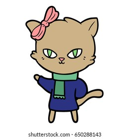 cute cartoon cat in winter clothes