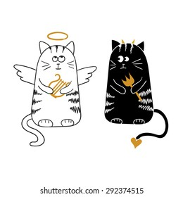 Cute cartoon cats, angel and demon. Vector illustration.