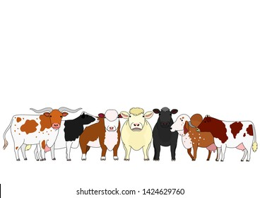 cute cartoon cattle breed group