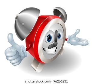 Cute cartoon character alarm clock giving a thumbs up
