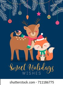 Cute cartoon character animals illustration for Christmas and new year card template