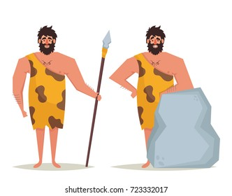 Cute Cartoon Character: Caveman. Vector Illustration