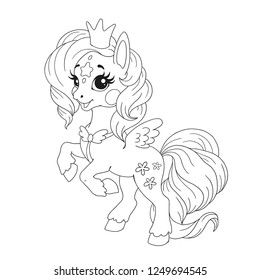 Cute cartoon character for coloring book. Pony unicorn doodle. Element for children's creativity. Fabulous vector unicorn on a white background.