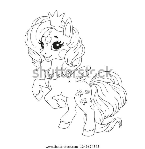 - Cute Cartoon Character Coloring Book Pony Stock Vector (Royalty Free)  1249694545