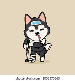 Cute cartoon character design black grey Siberian Husky dog get sick and broken leg. use cooling fever patch on forehead?
