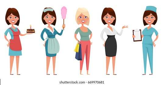 Cute cartoon character in different situations. Housewife, maid, shopper, business woman and nurse. Set of vector illustrations.