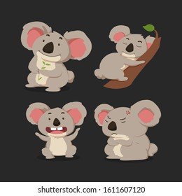 Cute cartoon character gray koala in differet poses set : sitting, climbing the tree, angry. vector illustration