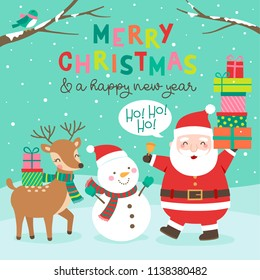 Cute cartoon character illustration and typography design for christmas and new year card design