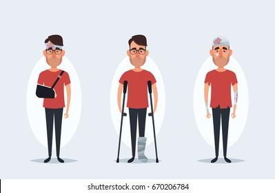 Cute Cartoon Character - Injured Man. Vector Set