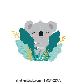 Cute cartoon character koala. Print for baby shower party. Vector print with baby koala.