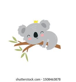 Cute cartoon character koala. Print for baby shower party. Vector print with baby koala.