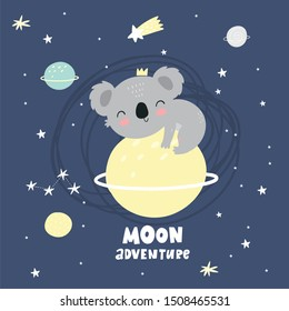 Cute cartoon character koala. Print for baby shower party. Vector print with baby koala in space