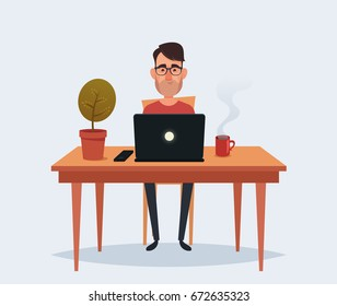 Cute Cartoon Character - Man Sitting and Working with Laptop. Vector Illustration