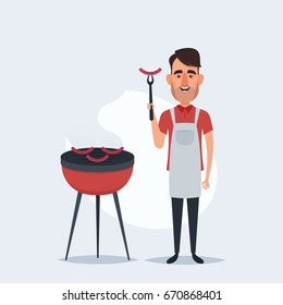 Cute Cartoon Character. Man Standing Near the Barbecue Grill. Vector Illustration
