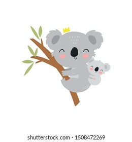 Cute cartoon character mother koala and baby. Print for baby shower party. Vector print with baby and mom koala