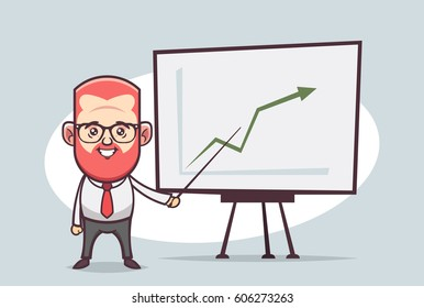 Cute Cartoon Character - Office Worker Giving a Presentation (Success)