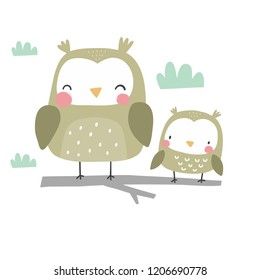 Cute cartoon character owl. Funny owl vector illustration. You can use the print design for t-shirts, posters and cards.