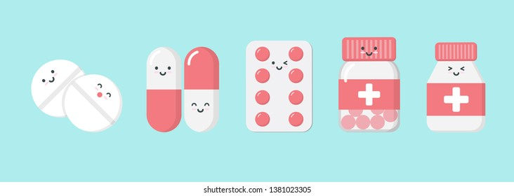 Cute cartoon character pills. isometric drugs, pills, medical pills, bottle pills, medicine, illustration design concept of Healthcare and Medicine. - vector