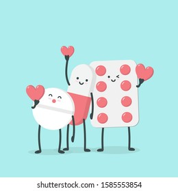 Cute cartoon character pills. isometric drugs, pills, medical pills and medicine holding red heart. illustration design concept of Healthcare and Medicine.