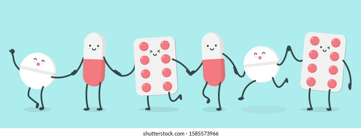 Cute cartoon character pills. isometric drugs, pills, medical pills, bottle pills, and medicine happy walking holding hands. illustration design concept of Healthcare and Medicine.