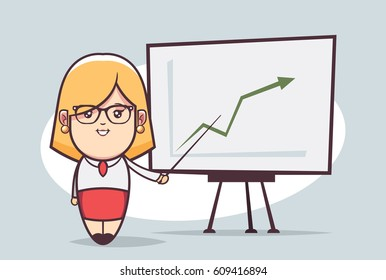Cute Cartoon Character. Pretty Office Girl Giving a Presentation (Success)