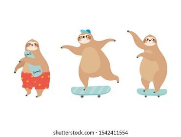 Cute cartoon character sloth skater. Vector print with cute sloth bear on a skateboard