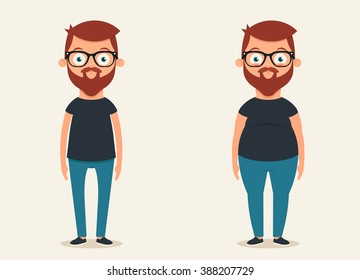 Cute Cartoon Character: Thin and Fat. Vector Set